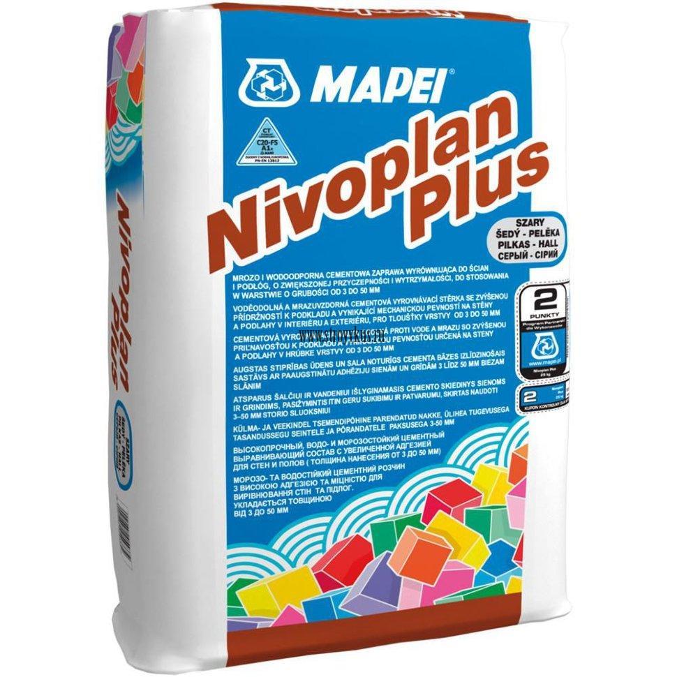 Mapei Nivoplan Plus Выравнивающая смесь для стен, потолков и пола, 25 кг